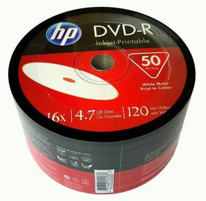 HP DVD-R - White Inkjet Printable -  4.7GB 16x  50-Pack