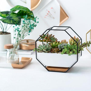 Ayla - Iron Frame Ceramic Geometric Planter - Flowydecor