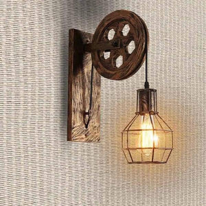 Loft - Industrial Vintage Pulley Wall Mounted Lamp - Flowydecor