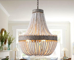 Mercy - Vintage Wooden Beaded Round Chandelier - Flowydecor