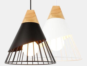 Wooden Base Iron Cage Handing Nordic Lamp - Flowydecor