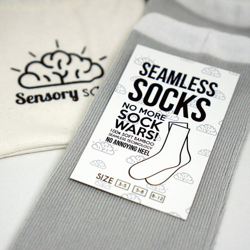 Sensory Sam Seamless Socks-Grey with white band