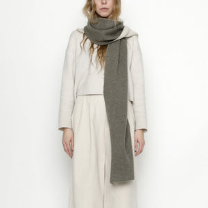 Double Sided Scarf - Gray + Cream