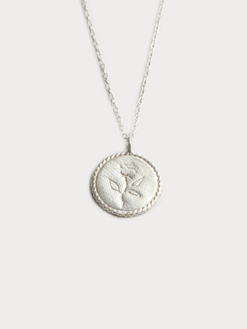 Rose Coin Necklace - Sterling Silver