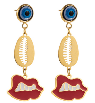 Aretes Red Lips Acero T5