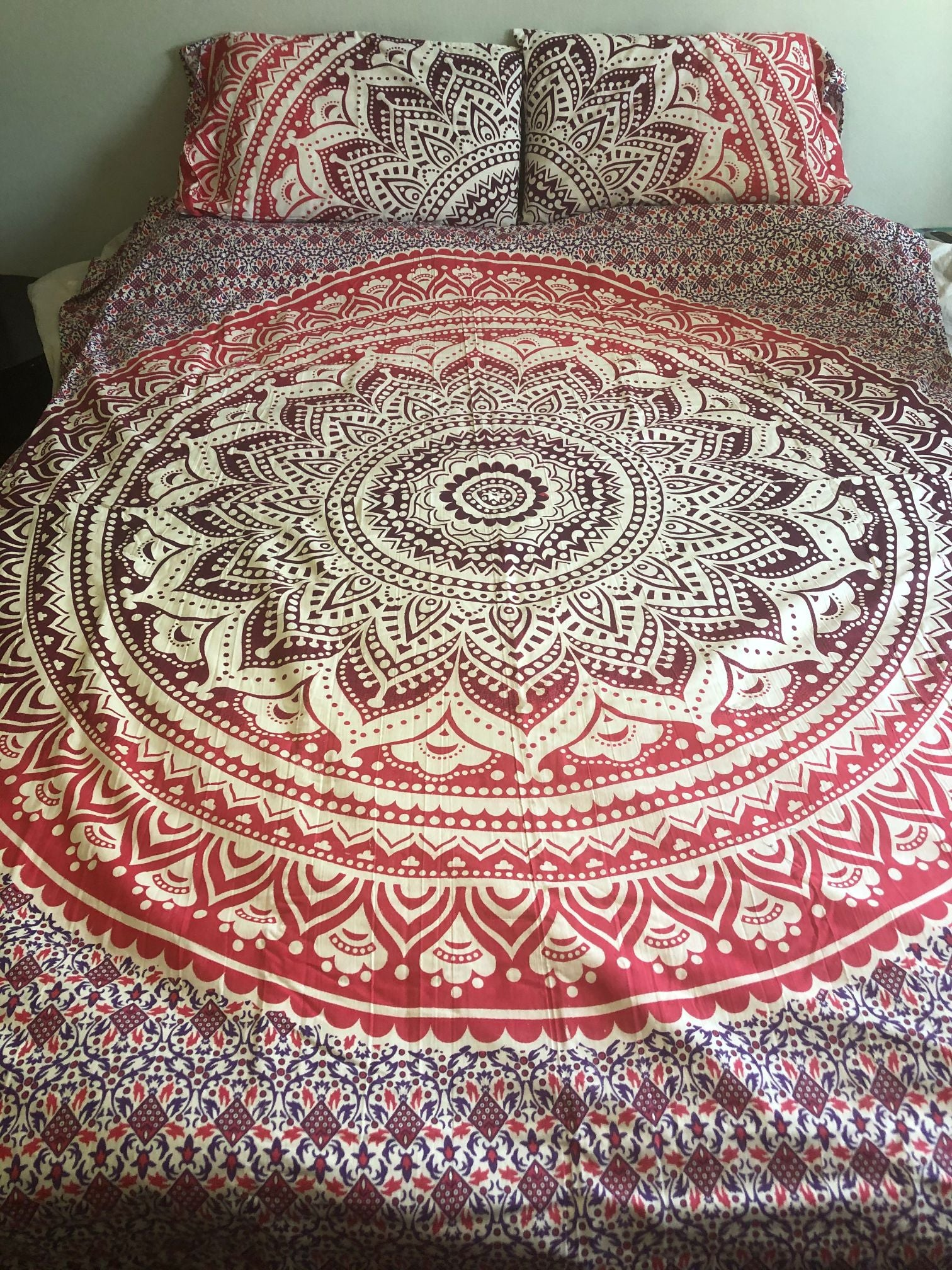 Pink Mandala Queen Duvet Set
