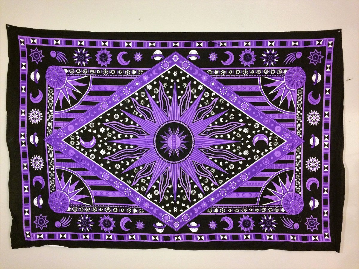 jaan-imports - Purple Sun with Moons and Stars Diamond Print Twin Tapestry - Khoobsurat Gift Shop - Twin Tapestry