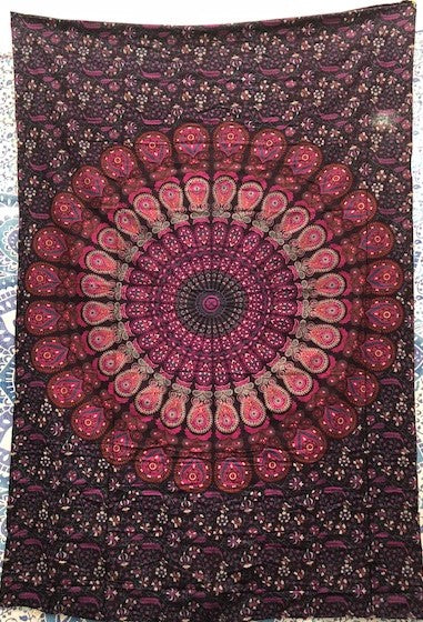 jaan-imports - Purple Pink Peacock Mandala Twin Tapestry - Khoobsurat Gift Shop - Twin Tapestry