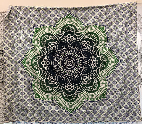 jaan-imports - Green and Navy Flower Mandala Queen Tapestry - Khoobsurat Gift Shop - Queen Tapestry