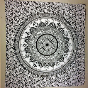 jaan-imports - Black and Grey Mandala Queen Tapestry - Khoobsurat Gift Shop - Queen Tapestry