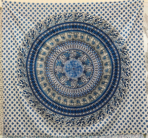 jaan-imports - Blue Mandala Queen Tapestry - Khoobsurat Gift Shop - Queen Tapestry