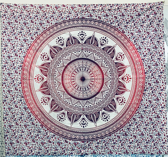 jaan-imports - Red Mandala Queen Tapestry - Khoobsurat Gift Shop - Queen Tapestry