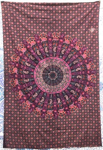 jaan-imports - Pink Purple Peacock Mandala Twin Tapestry - Khoobsurat Gift Shop - Twin Tapestry