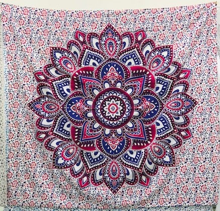 jaan-imports - Pink Flower Mandala Queen Tapestry - Khoobsurat Gift Shop - Queen Tapestry