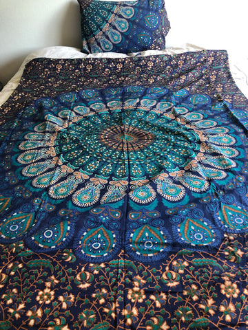 Navy and Turquoise Peacock Mandala Twin Duvet Set