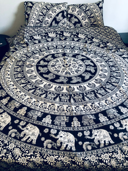 Elephants Peacocks Black and White Mandala Queen Duvet Set