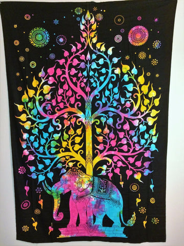 jaan-imports - Elephant Tree of Life Tye Dye Colorful Twin Tapestry - Khoobsurat Gift Shop - Twin Tapestry