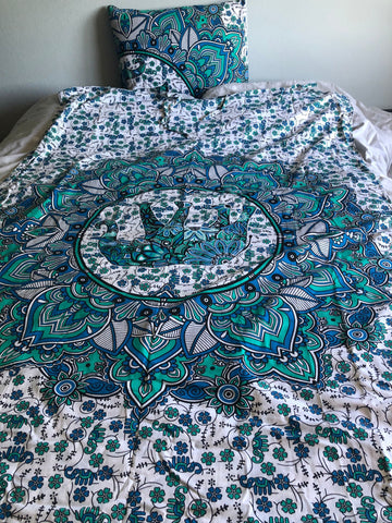 Elephant and Flower Mandala Blue and Sea Green Twin Duvet Set