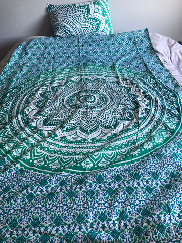 Green and White Mandala Twin Duvet Set