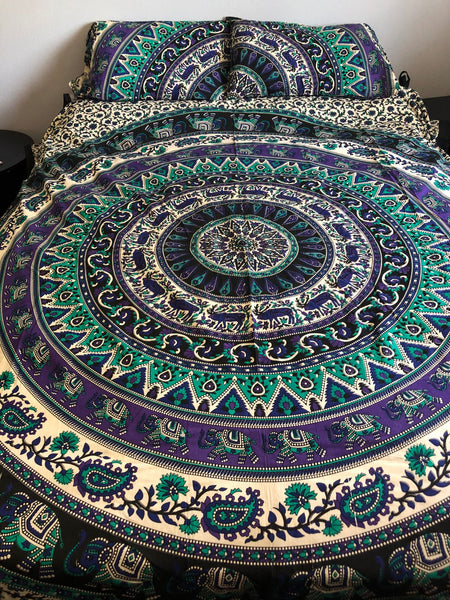 Elephant Elk Purple Sea Green Mandala Queen Duvet Set