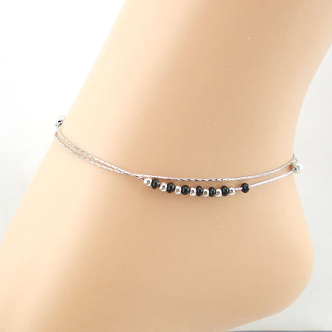 Black Beaded Anklet