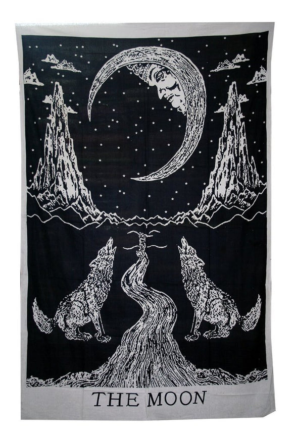 jaan-imports - Wolf and Moon Twin Tapestry (2 Color Options) - Khoobsurat Gift Shop - Twin Tapestry