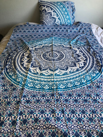 Blue and Turquoise Mandala Twin Duvet Set