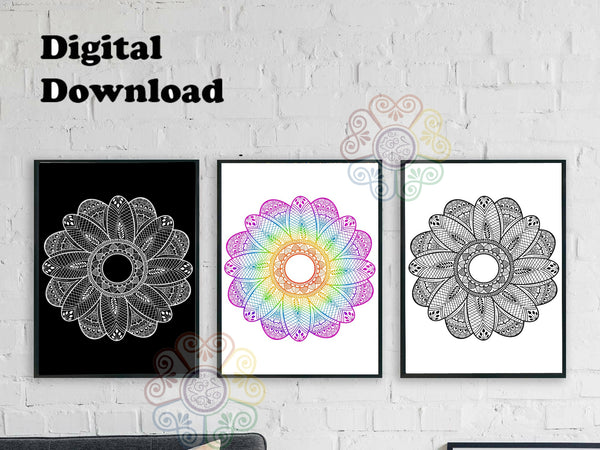 jaan-imports - Mandala Set of 3 Digital Downloads JPG SVG PNG - Khoobsurat Gift Shop - Digital Download