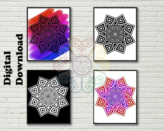 jaan-imports - Geometric Mandala Set of 4 Digital Downloads JPG SVG PNG - Khoobsurat Gift Shop - Digital Download