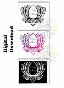 jaan-imports - Lotus I Believe in Miracles Mandala Set of 3 Digital Downloads JPG SVG PNG - Khoobsurat Gift Shop - Digital Download