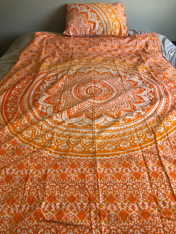Orange and Yellow Mandala Twin Duvet Set