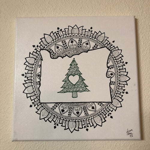 jaan-imports - Handmade Henna Inspired Art- Beautiful Oregon State Mandala Design - Khoobsurat Gift Shop - Henna Art