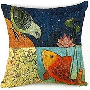 jaan-imports - Bird and Fish Pillow Cover Pillow case - Khoobsurat Gift Shop - Pillow Cover