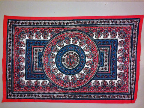 jaan-imports - Pink Navy Blue Mandala Twin Tapestry - Khoobsurat Gift Shop - Twin Tapestry