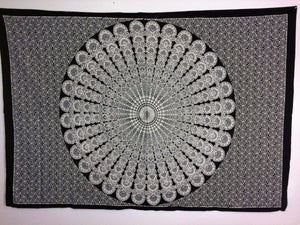jaan-imports - Black and White Peacock Mandala Twin Tapestry - Khoobsurat Gift Shop - Twin Tapestry