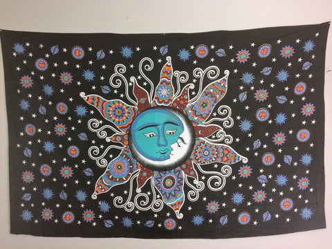 jaan-imports - Sun and Moon Aqua Blue Twin Tapestry - Khoobsurat Gift Shop - Twin Tapestry