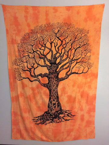 jaan-imports - Orange Tree of Life Twin Tapestry - Khoobsurat Gift Shop - Twin Tapestry