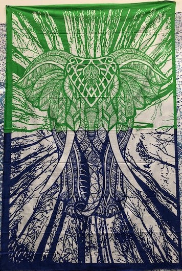 jaan-imports - Green and Blue Forest Elephant Twin Tapestry - Khoobsurat Gift Shop - Twin Tapestry