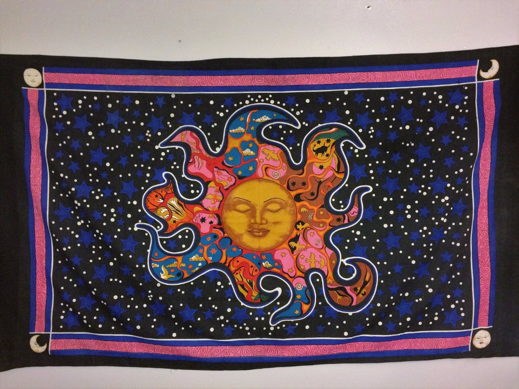 jaan-imports - Yellow Sun with Pink Border Twin Tapestry - Khoobsurat Gift Shop - Twin Tapestry