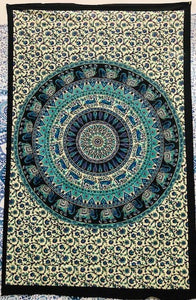 jaan-imports - Purple Green Elephant Mandala Twin Tapestry - Khoobsurat Gift Shop - Twin Tapestry