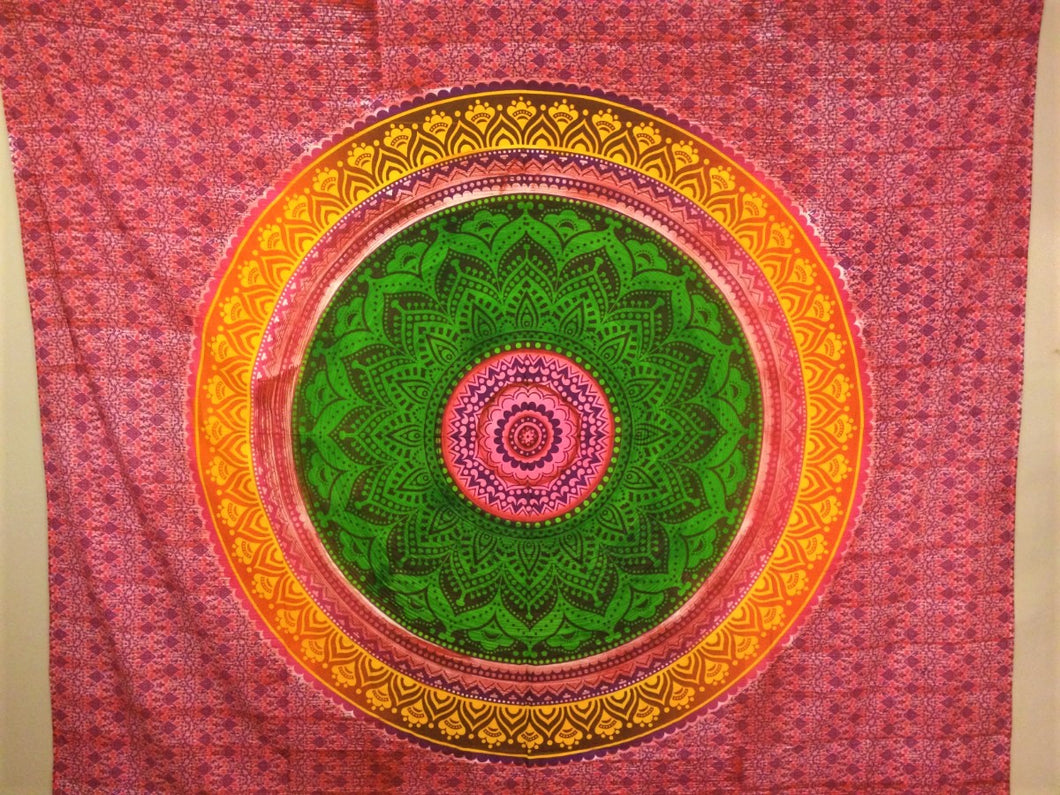jaan-imports - Green Pink Mandala Queen Tapestry - Khoobsurat Gift Shop - Queen Tapestry