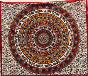 jaan-imports - Orange Elephant Mandala Queen Tapestry - Khoobsurat Gift Shop - Queen Tapestry