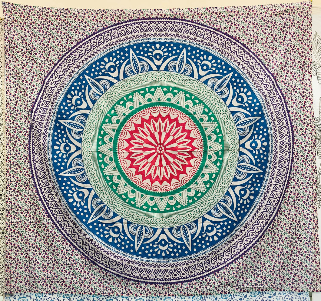 jaan-imports - Purple Blue Green Mandala Queen Tapestry - Khoobsurat Gift Shop - Queen Tapestry