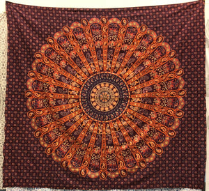 jaan-imports - Orange Peacock Mandala Queen Tapestry - Khoobsurat Gift Shop - Queen Tapestry