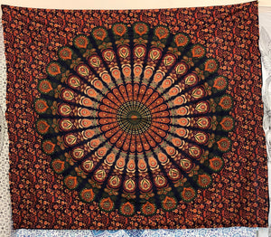 jaan-imports - Green Orange Peacock Mandala Queen Tapestry - Khoobsurat Gift Shop - Queen Tapestry