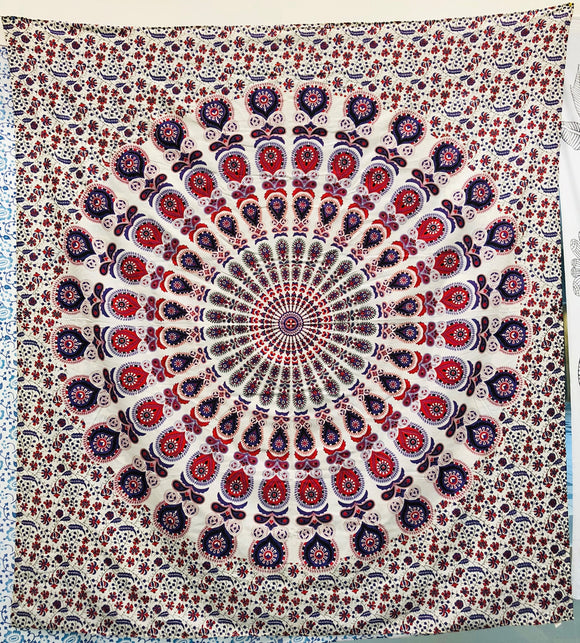jaan-imports - Pink Purple Peacock Mandala Queen Tapestry - Khoobsurat Gift Shop - Queen Tapestry