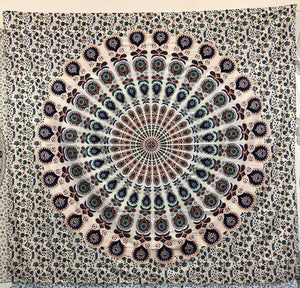 jaan-imports - Peacock Mandala Pink Queen Tapestry - Khoobsurat Gift Shop - Queen Tapestry