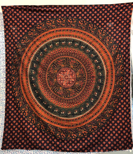 jaan-imports - Orange Navy Mandala Queen Tapestry - Khoobsurat Gift Shop - Queen Tapestry