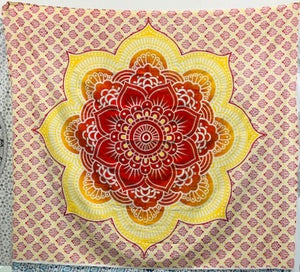 jaan-imports - Orange Yellow Flower Mandala Queen Tapestry - Khoobsurat Gift Shop - Queen Tapestry