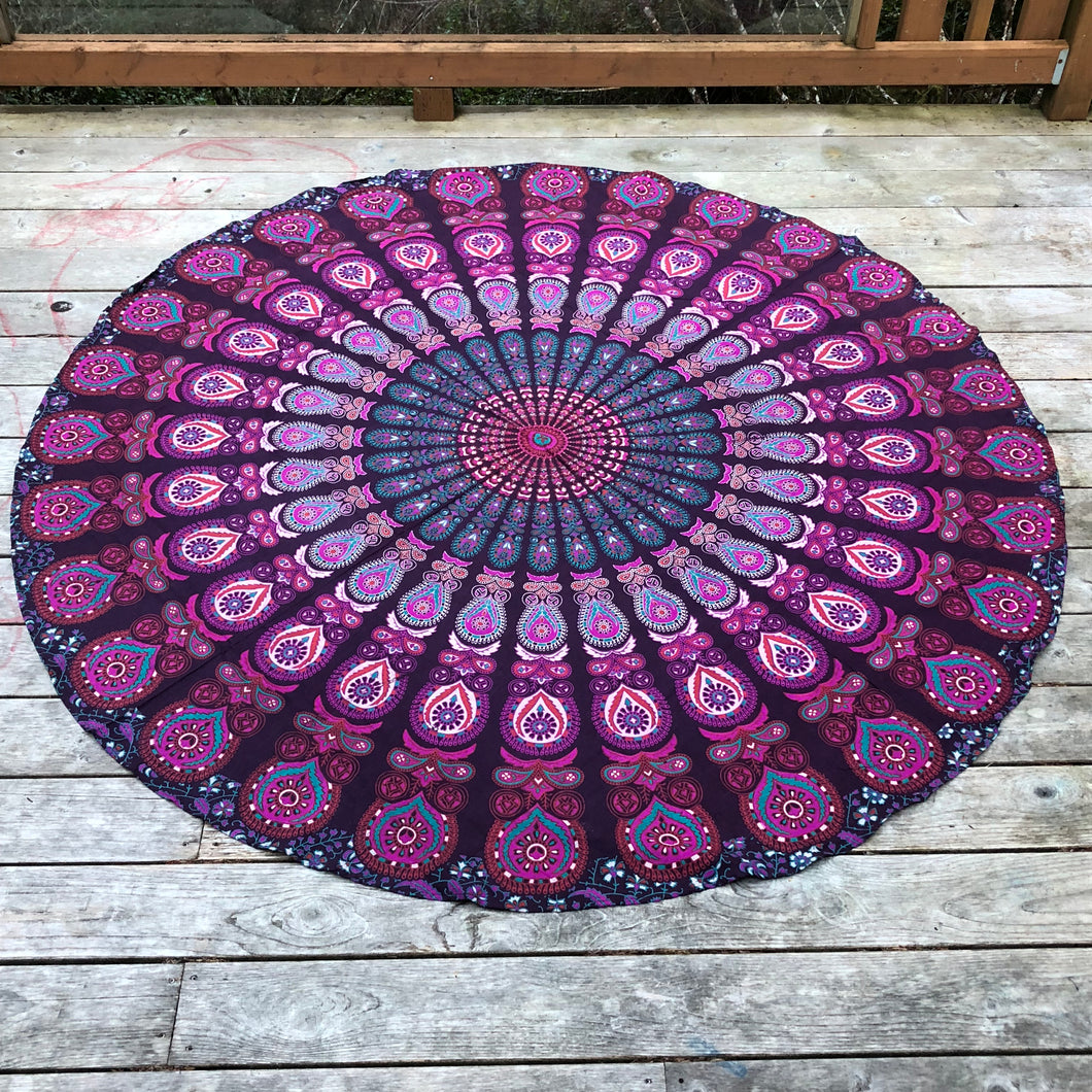 jaan-imports - Purple Peacock Round Tapestry - Khoobsurat Gift Shop - Round Tapestry